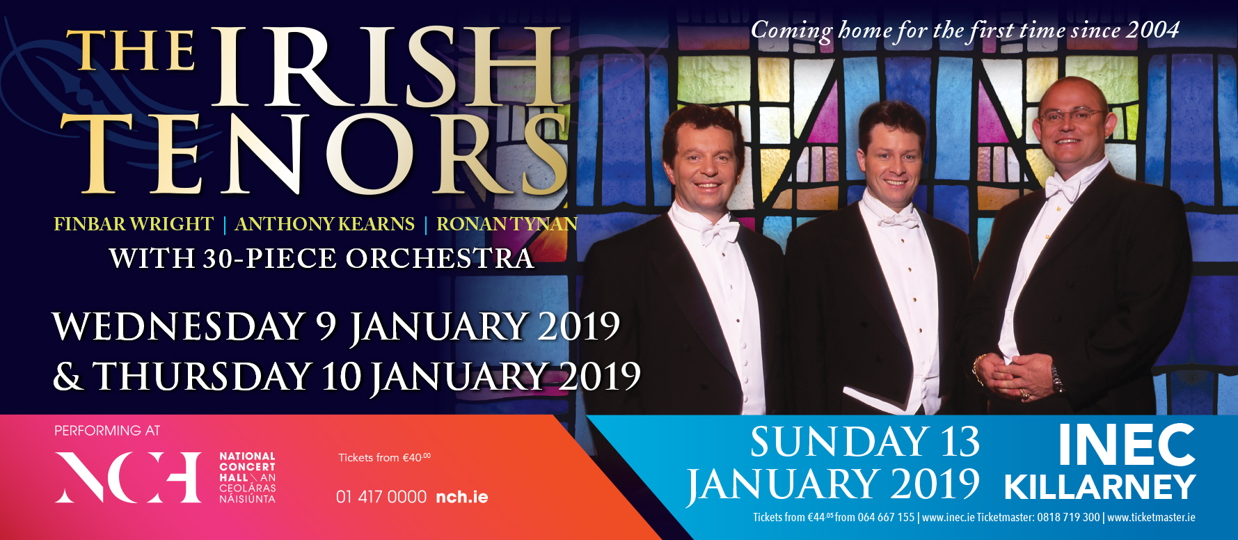 The Irish Tenors announce 3 concerts for January 2019