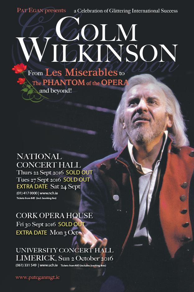 COLM WILKINSON IRISH TOUR SEPTEMBER 2016