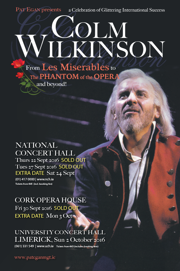 COLM WILKINSON IRISH TOUR SEPTEMBER 2016