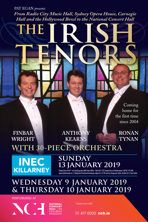 THE IRISH TENORS, INEC January 2019, NCH January 2019
