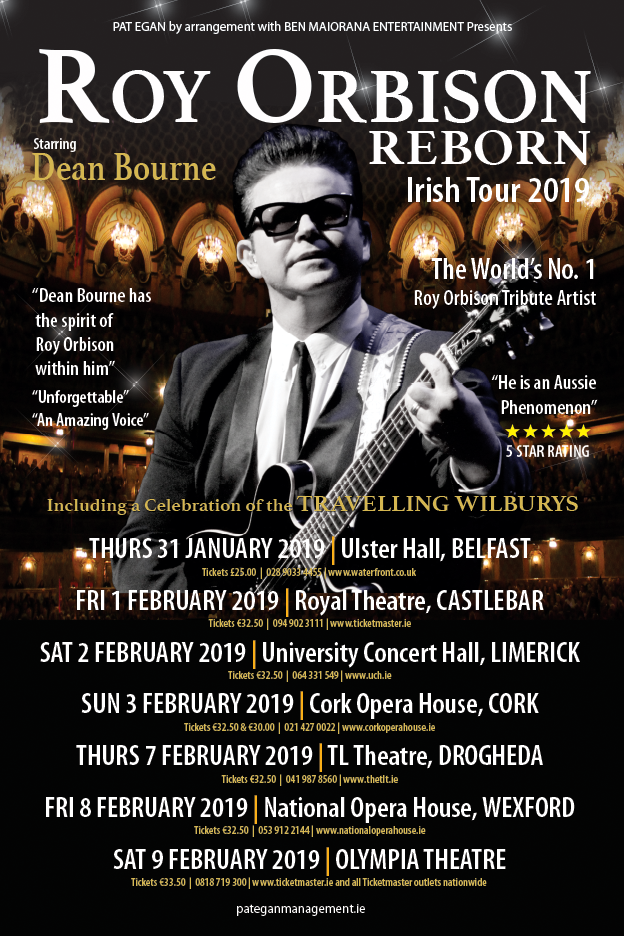 ROY ORBISON REBORN IRISH TOUR FEBRUARY 2019